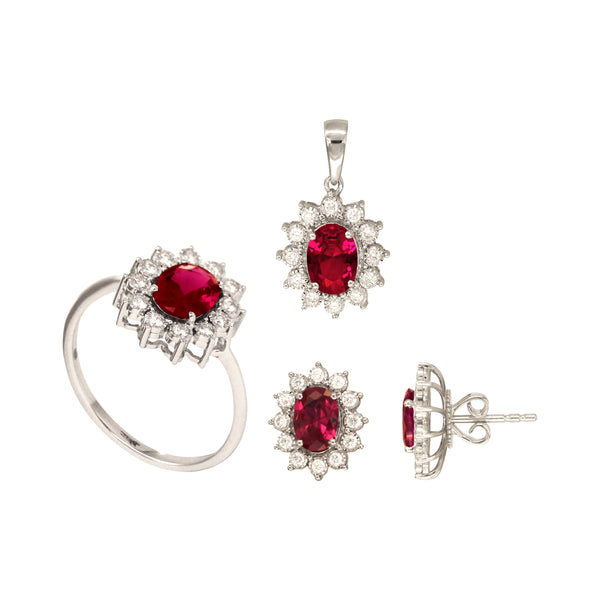 Oval Ruby Set of Stud Earrings, Pendant and Ring in 14K White Gold