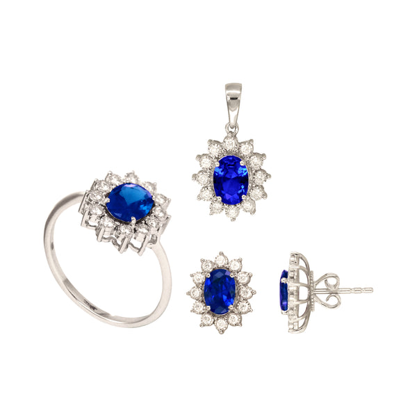 Oval Sapphire Set of Stud Earrings, Pendant and Ring in 18K White Gold