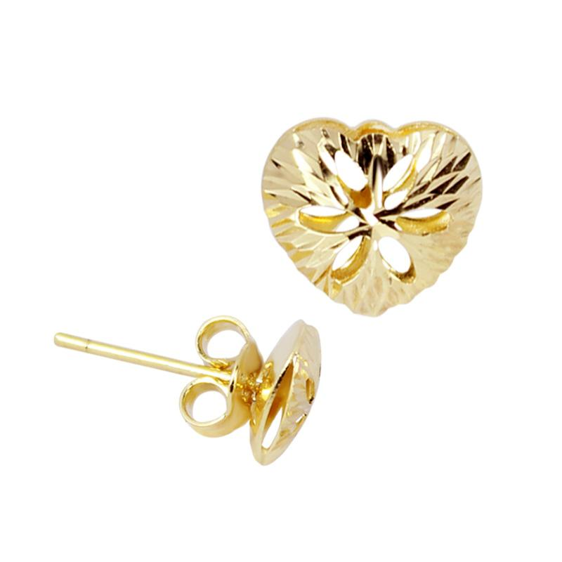 18K Saudi Gold Diamond Cut Heart Stud Earrings