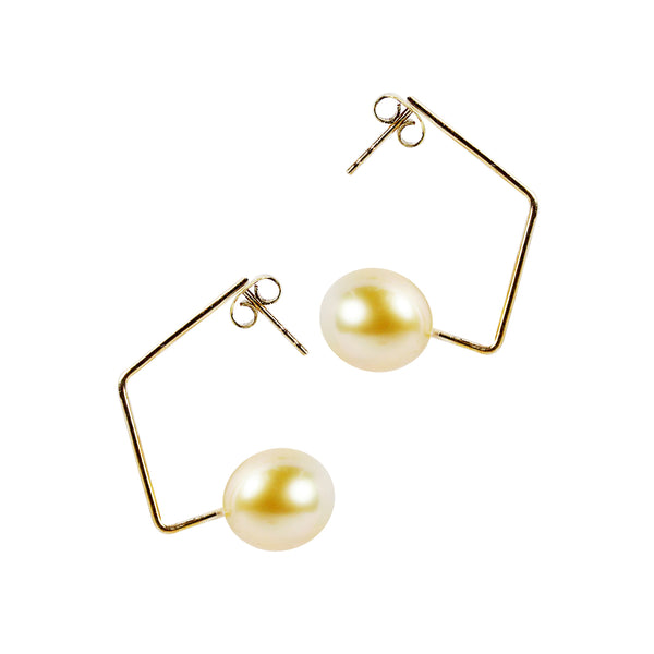 10mm Golden South Sea Pearl in 18K Yellow Gold Dangling Earring