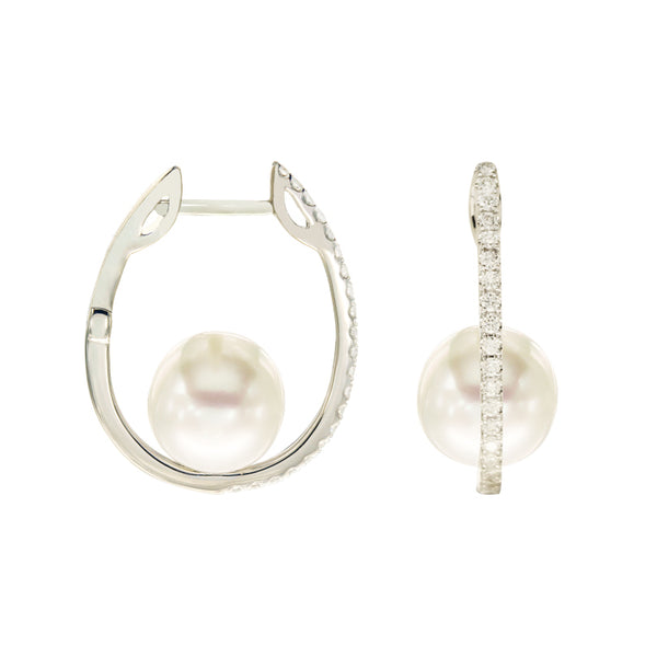 9mm-10mm White South Sea Pearl Hoops in 18K White Gold and 0.40ct Diamonds
