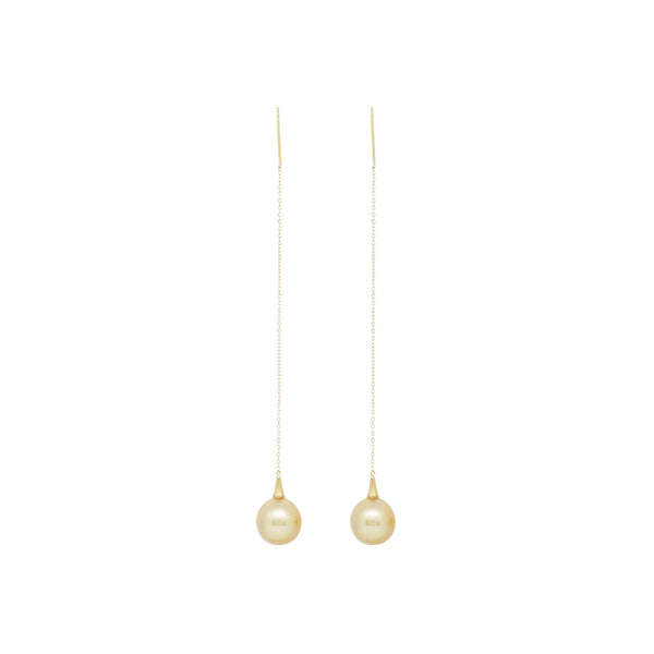 Golden South Sea Pearl Dangling Earrings in 18K Yellow Gold