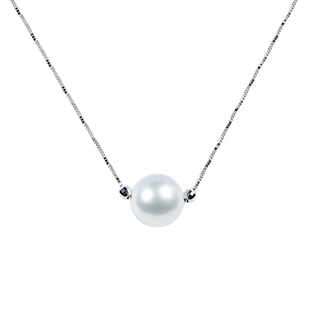 "11mm White South Sea Pearl in 14K White Gold 16"" Necklace"