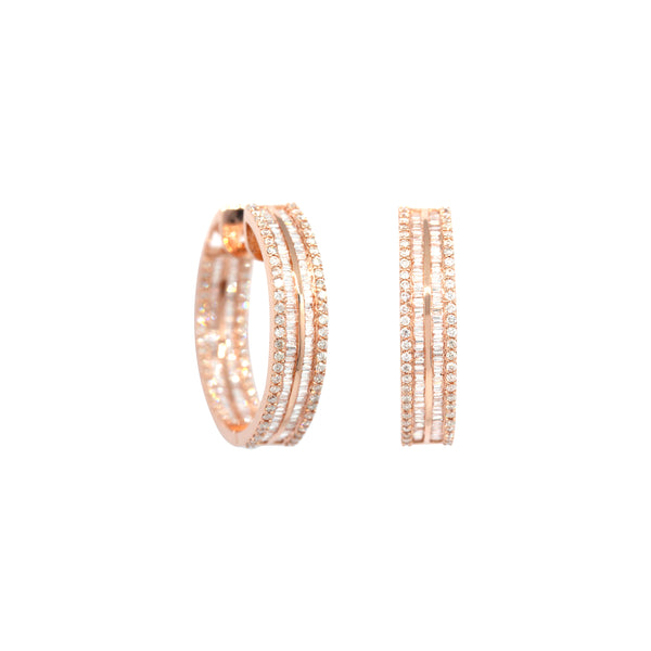 Bagguettes Diamond Round Hoops Earrings in 18K Rose Gold
