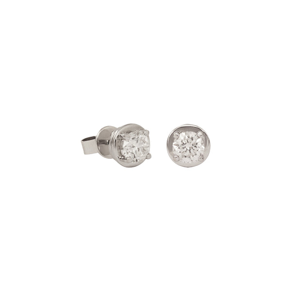 Solitaire Diamond Studs Earrings in 18K White Gold
