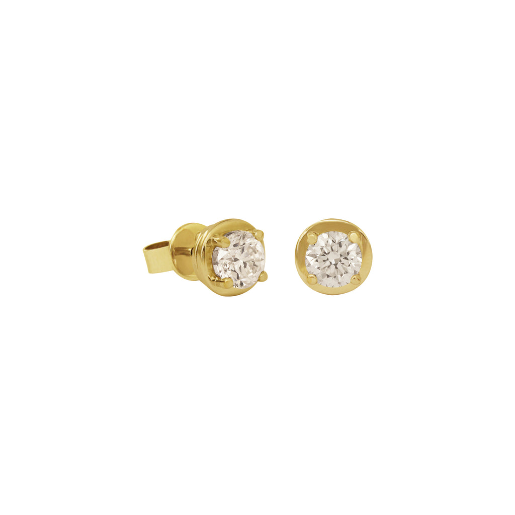 Solitaire Diamond Studs Earrings in 18K Yellow Gold