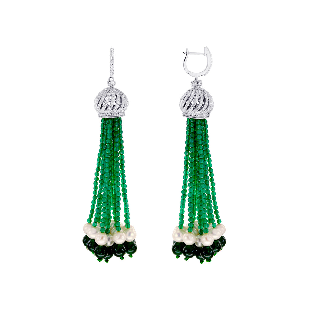Green Oriental Tassel Collection Earrings with Pearls and CZ in 925 Silver