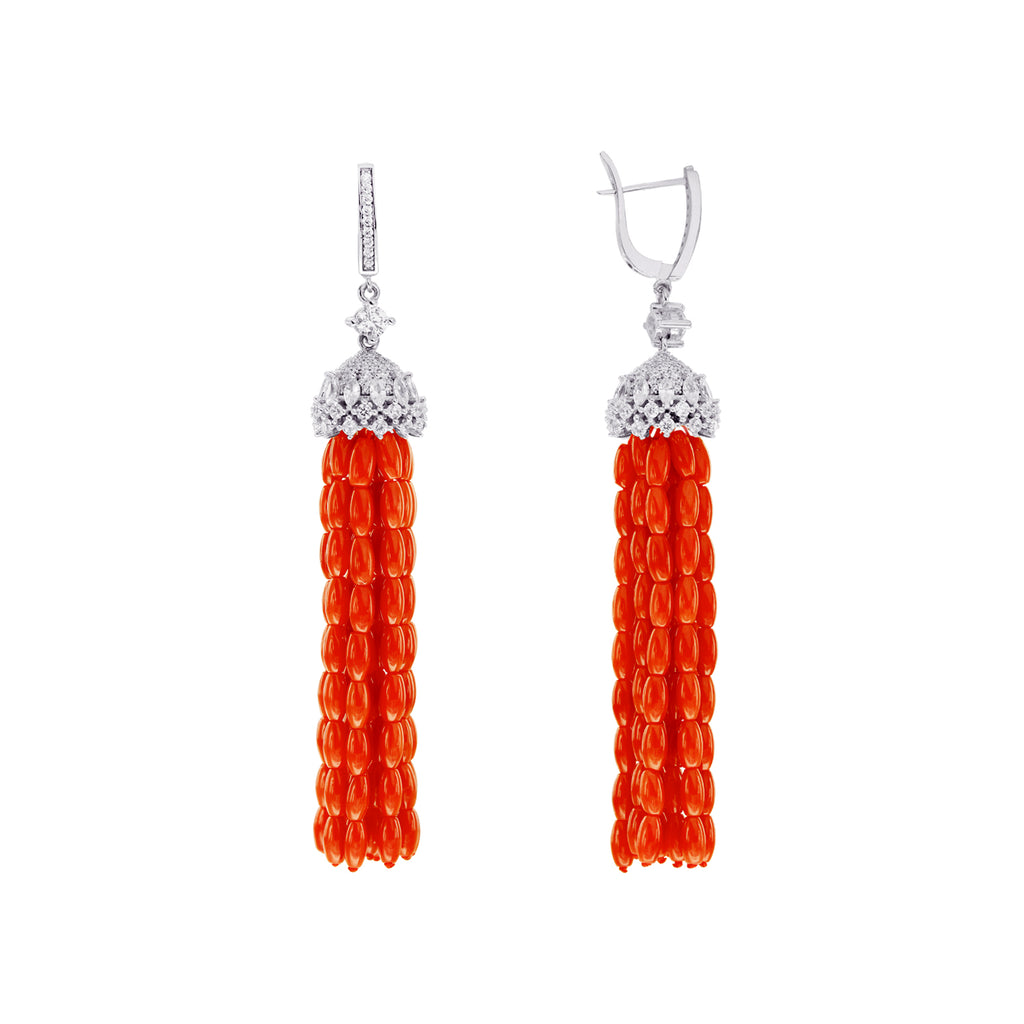 Red Oriental Tassel Collection Earrings with Corals and CZ in 925 Silver