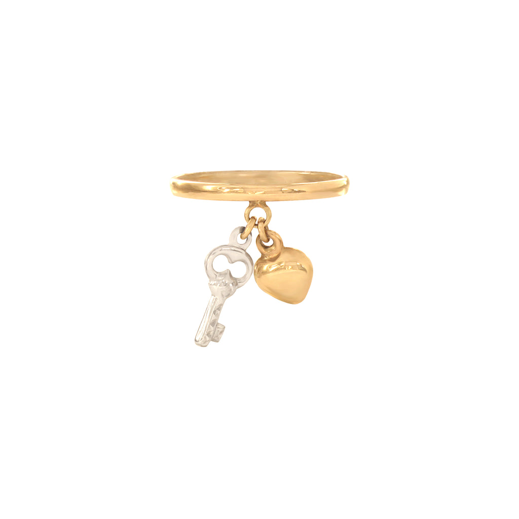 14K Italian Gold Heart and Key Ring