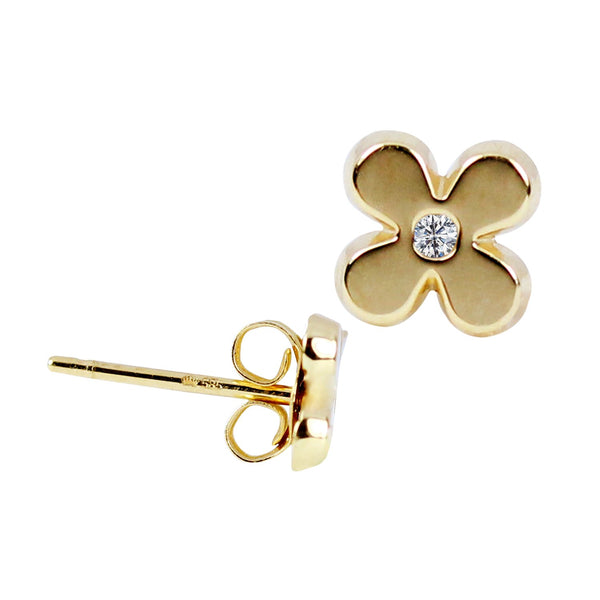 14K Italian Gold Flower with Cubic Zirconia Kids Stud Earrings