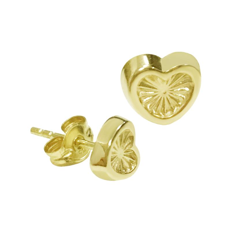 14K Italian Gold Engraved Heart Kids Stud Earrings
