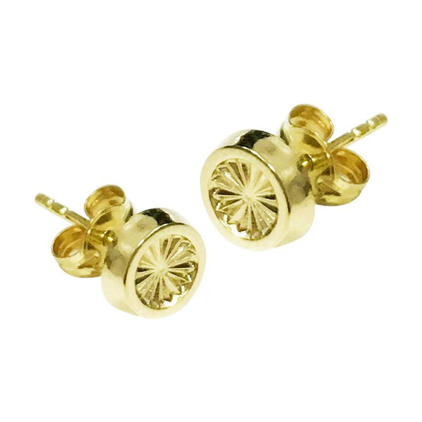 14K Italian Gold Engraved Round Kids Stud Earrings