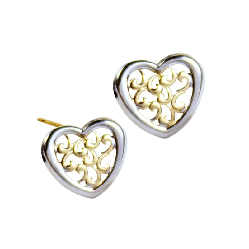14K Italian Gold Laser-cut Heart Kids Stud Earrings