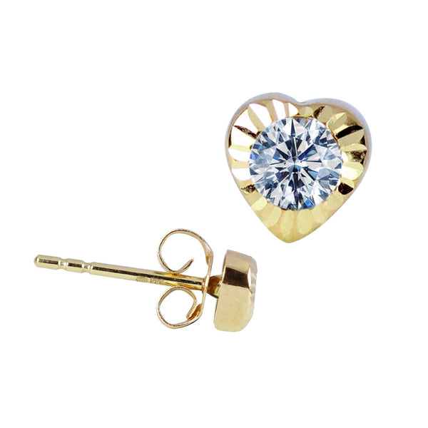 14K Italian Gold Heart with Cubic Zirconia Kids Stud Earrings