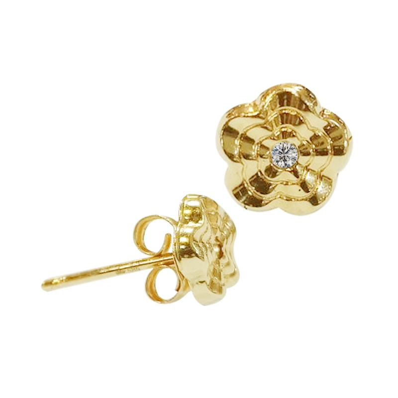 14K Italian Gold Wavy Flower with Cubic Zirconia Kids Stud Earrings