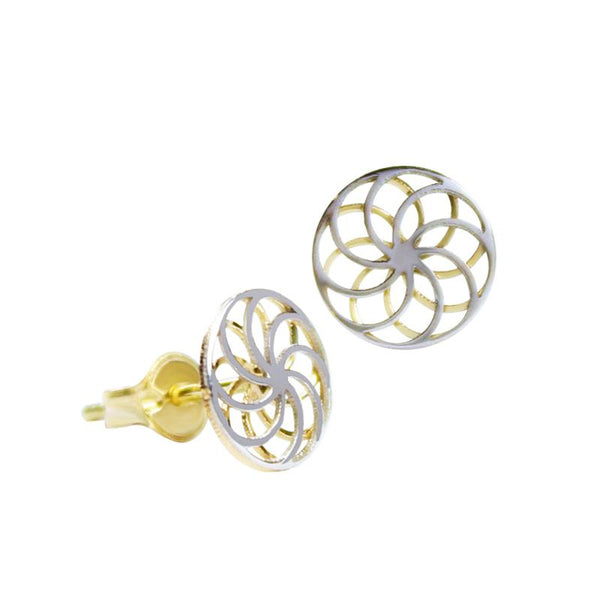 14K Italian Gold Swirl Kids Stud Earrings