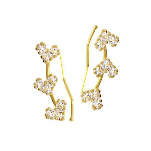 14K Italian Gold Heart Crawlers with Cubic Zirconia Kids Stud Earrings