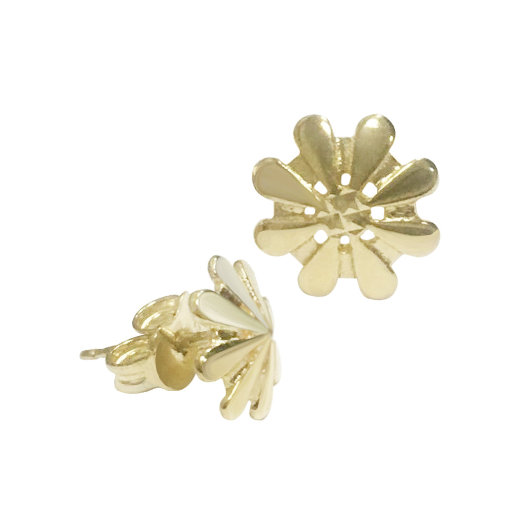 18K Saudi Gold Diamond Cut Flower Stud Earrings