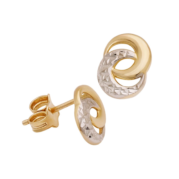 18K Saudi Gold Stud Earrings