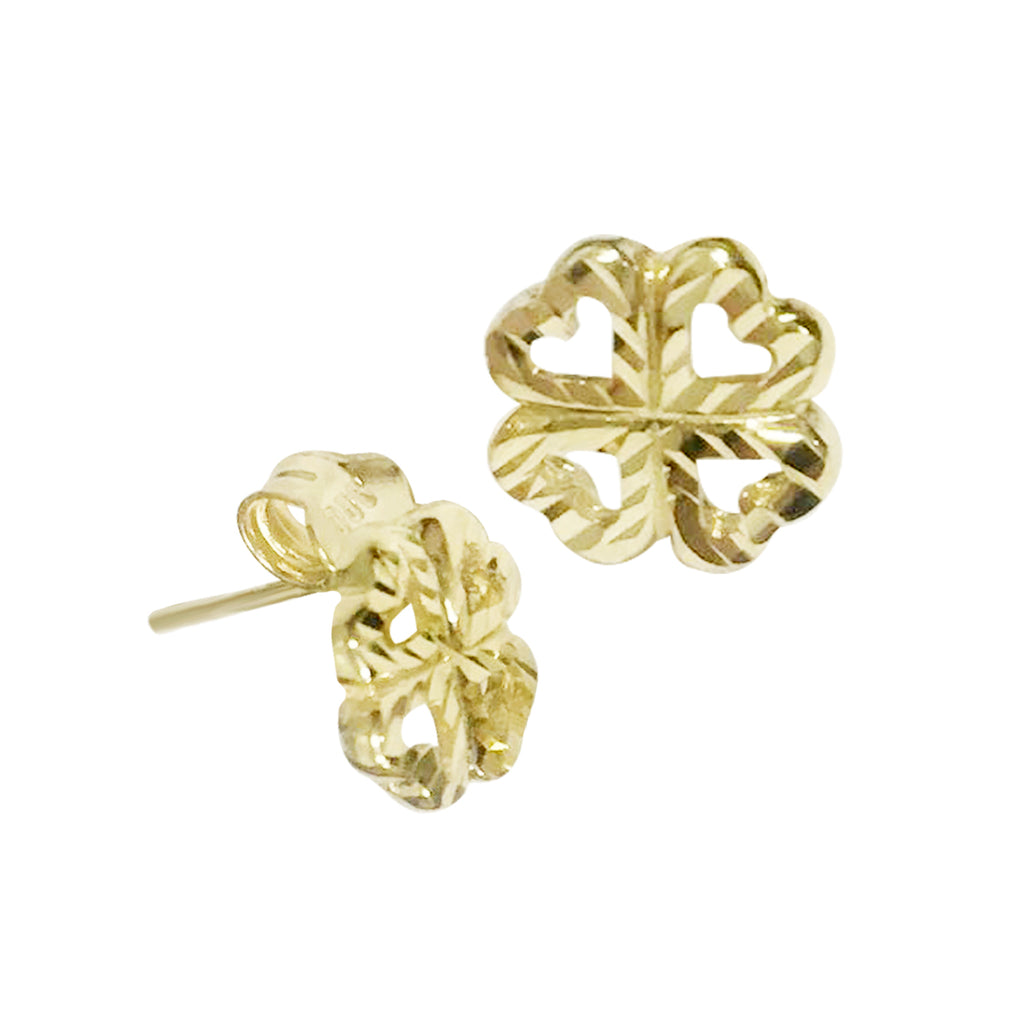 18K Saudi Gold Flower with Diamond Cut Stud Earrings