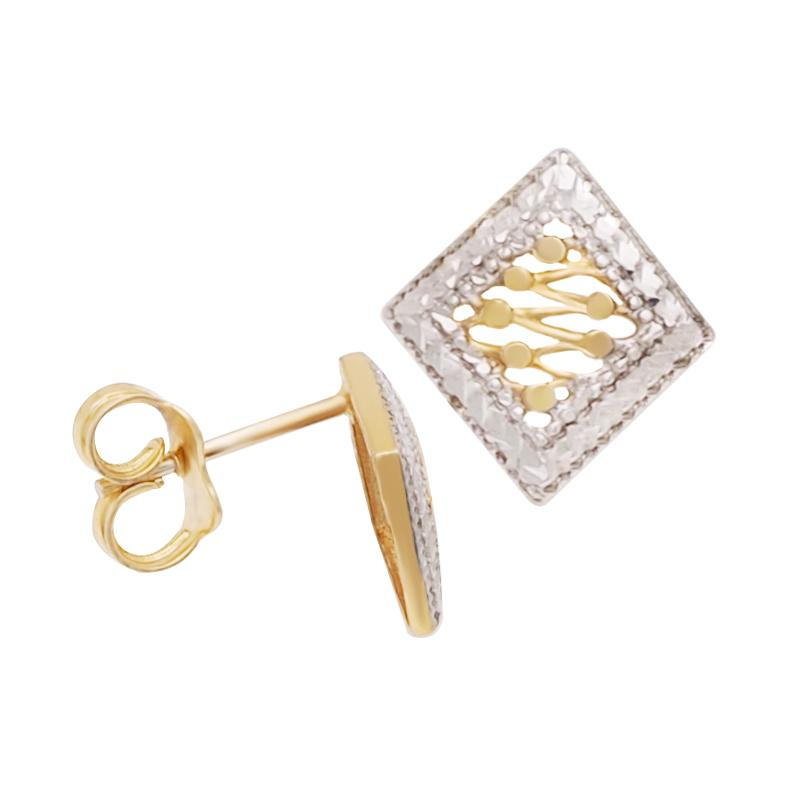18K Two-toned Saudi Gold Fancy with Diamond Cut Stud Earrings