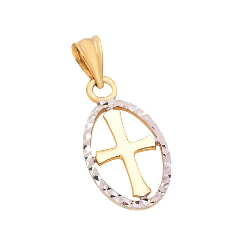 18K Two-Toned Saudi Gold  Cross Bordered with Oval Diamond Cut Pendant