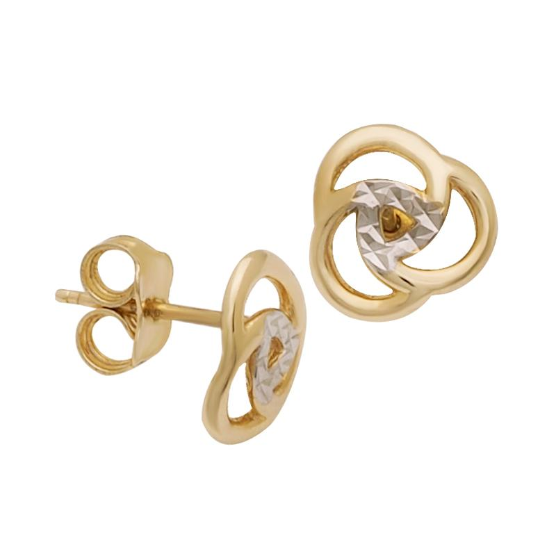 18K Two Toned Saudi Gold Knot with Diamond Cut Stud Earrings