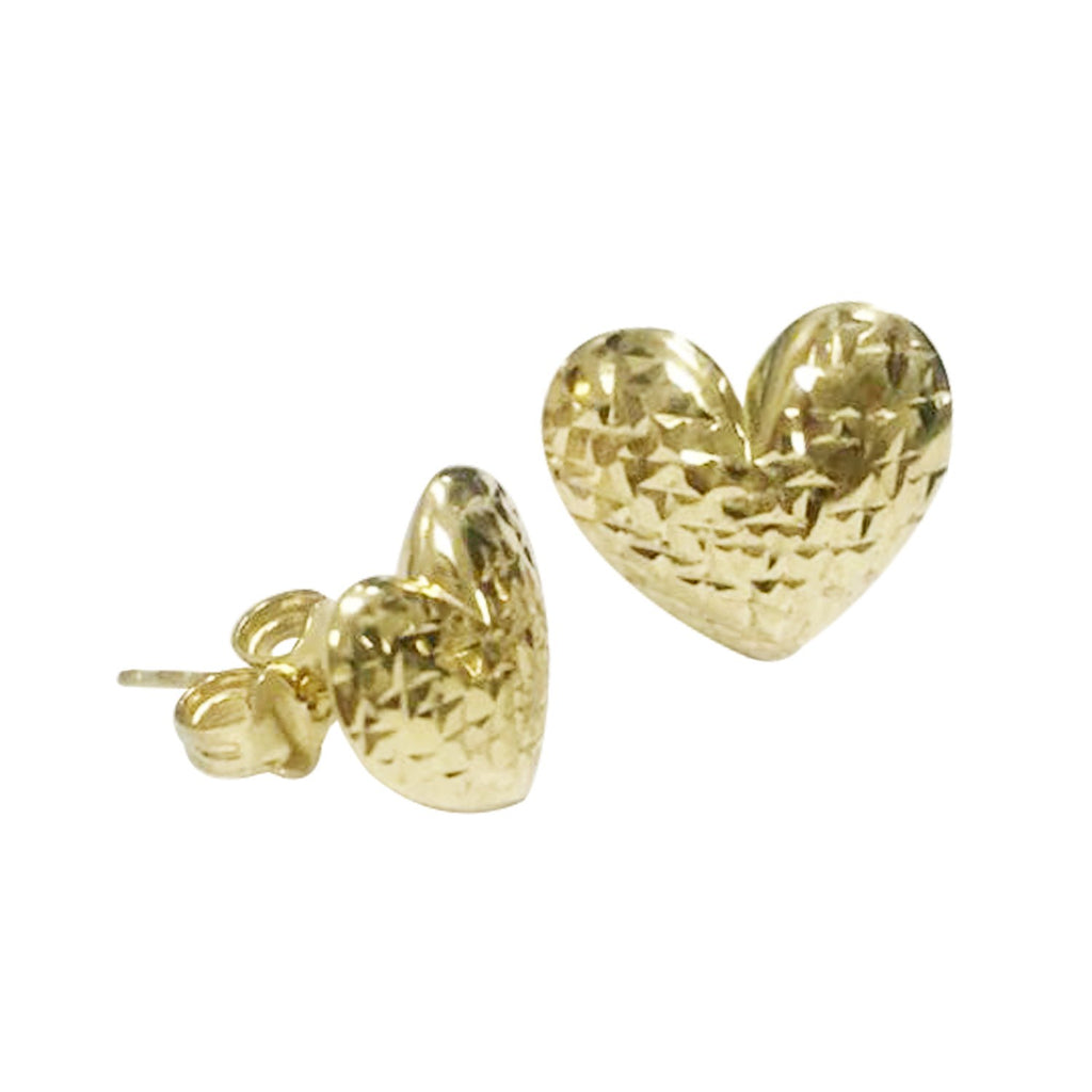 18K Saudi Gold Heart with Diamond Cut  Stud Earrings