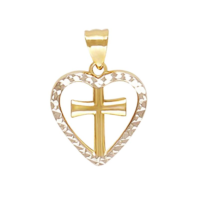 18K Two-Toned Saudi Gold Cross Bordered with Heart Diamond Cut Pendant