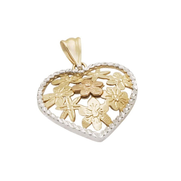 18K Two Toned Saudi Gold Heart with Diamond Cut Pendant