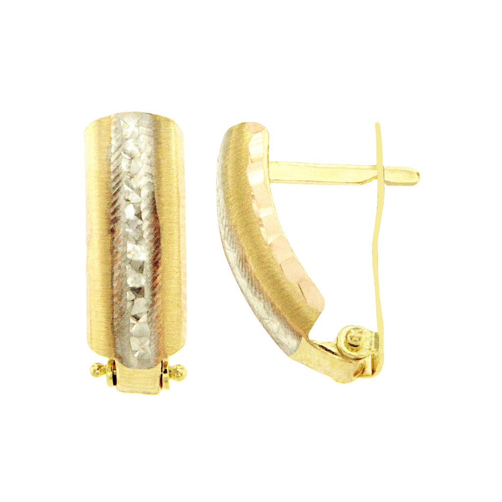 18K Saudi Gold Tricolor Textured Creolla Earrings