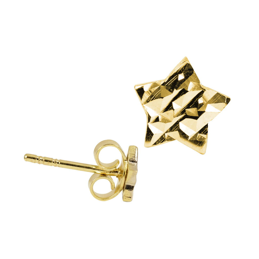 18K Yellow Saudi Gold Diamond Cut Star Stud Earrings