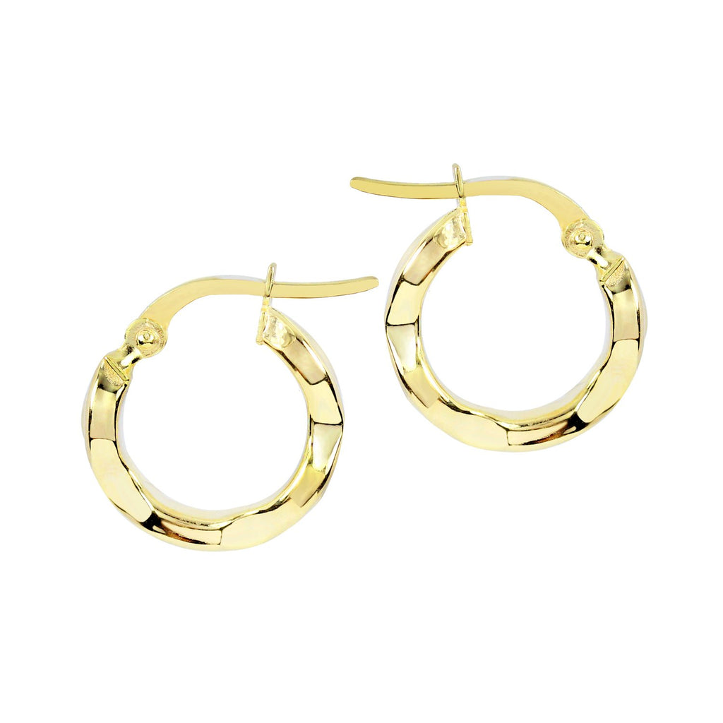 18K Saudi Gold 14MM Hoops Earrings