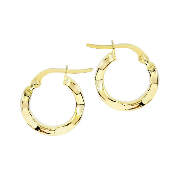 18K Saudi Gold 14MM Hoop Earrings