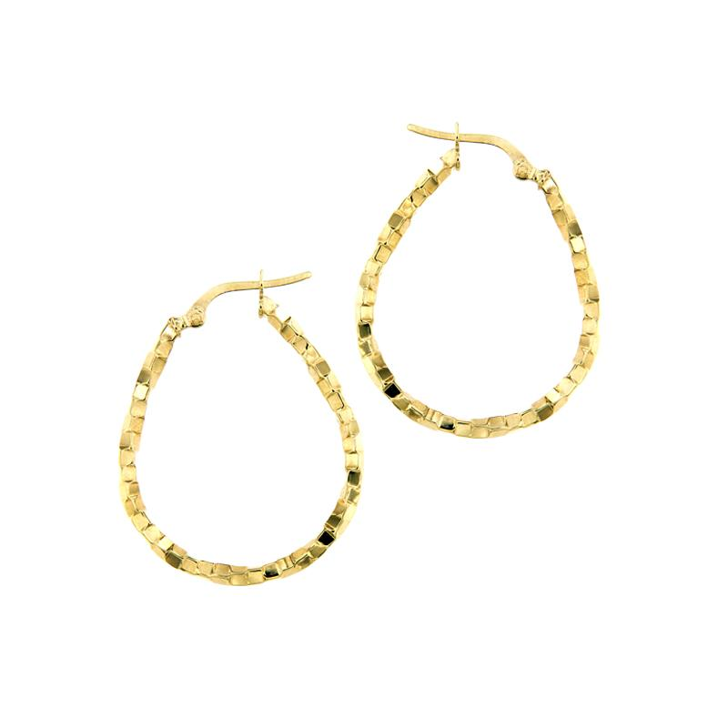 18K Saudi Gold 32mm by 26mm Hoop Earrings