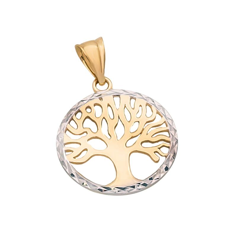 18K Two Toned Saudi Gold Tree with Diamond Cut Pendant