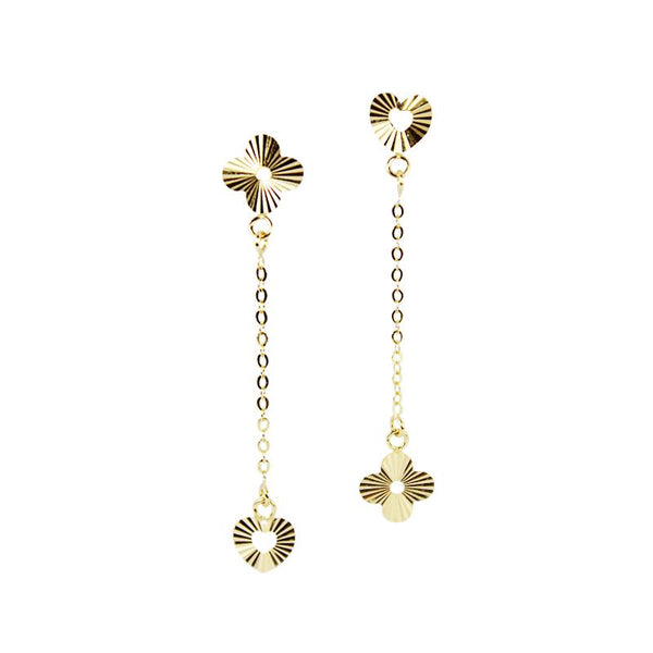 18K Golden Bloom Dangling Earrings