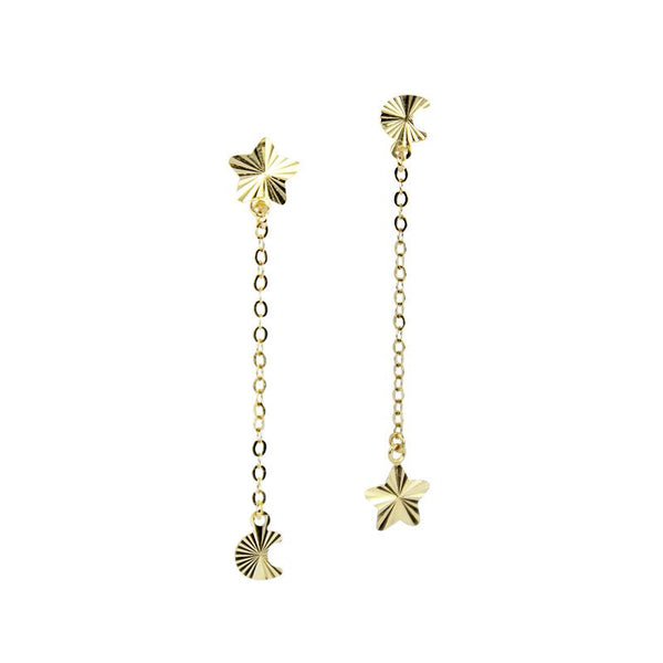 18K Golden Cosmic Dangling Earrings
