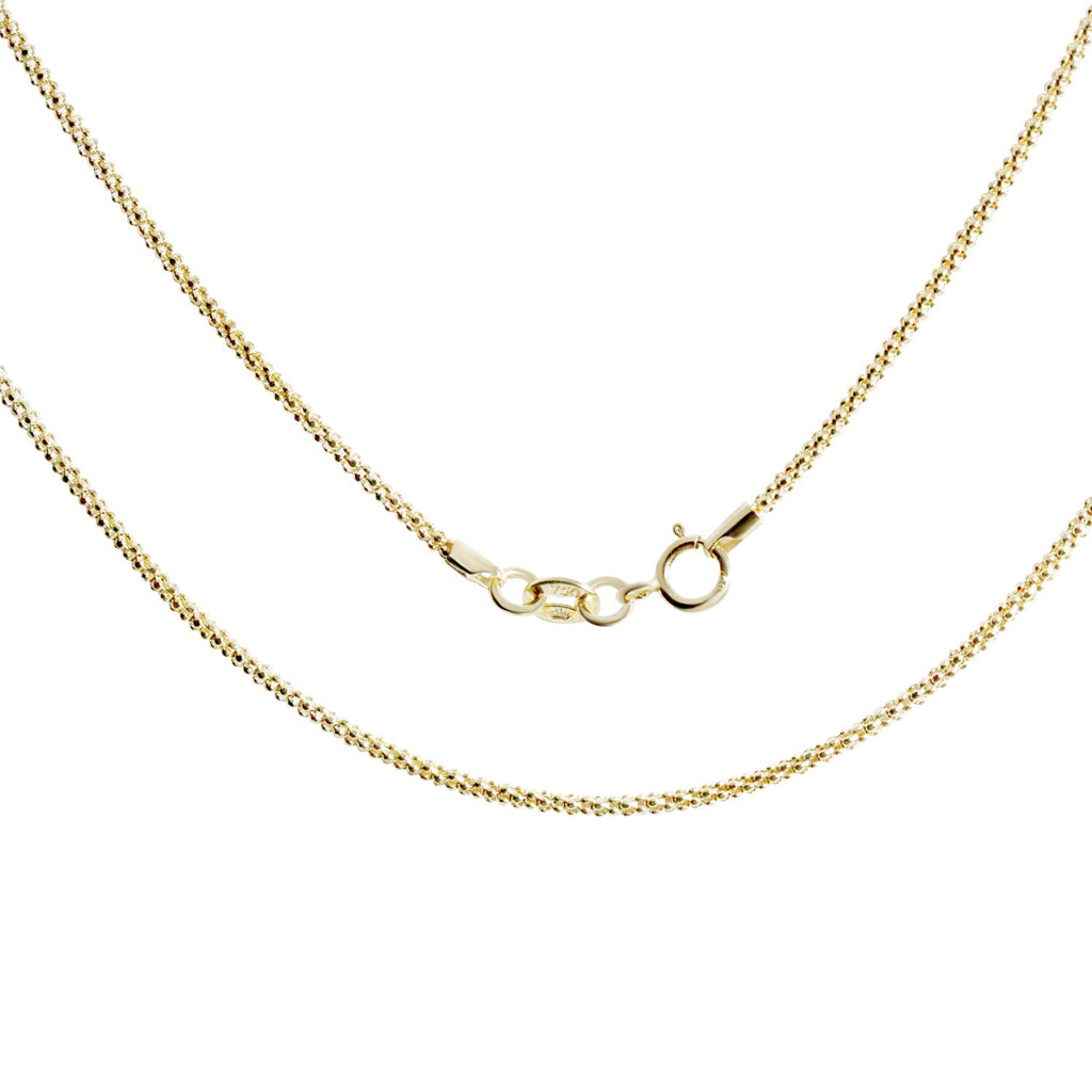 18K Saudi Gold Popcorn Chain Necklace  18""