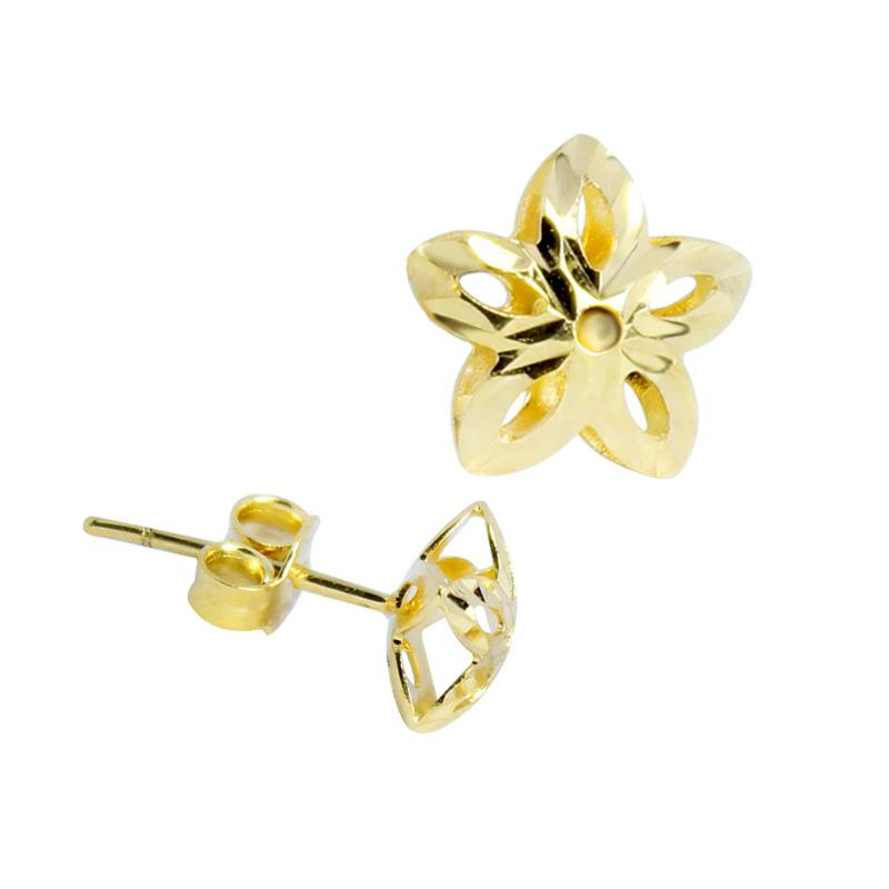 18K Saudi Gold Diamond Cut Star Stud Earrings
