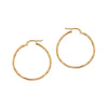 14K Italian Gold Textured Hoop Earrings