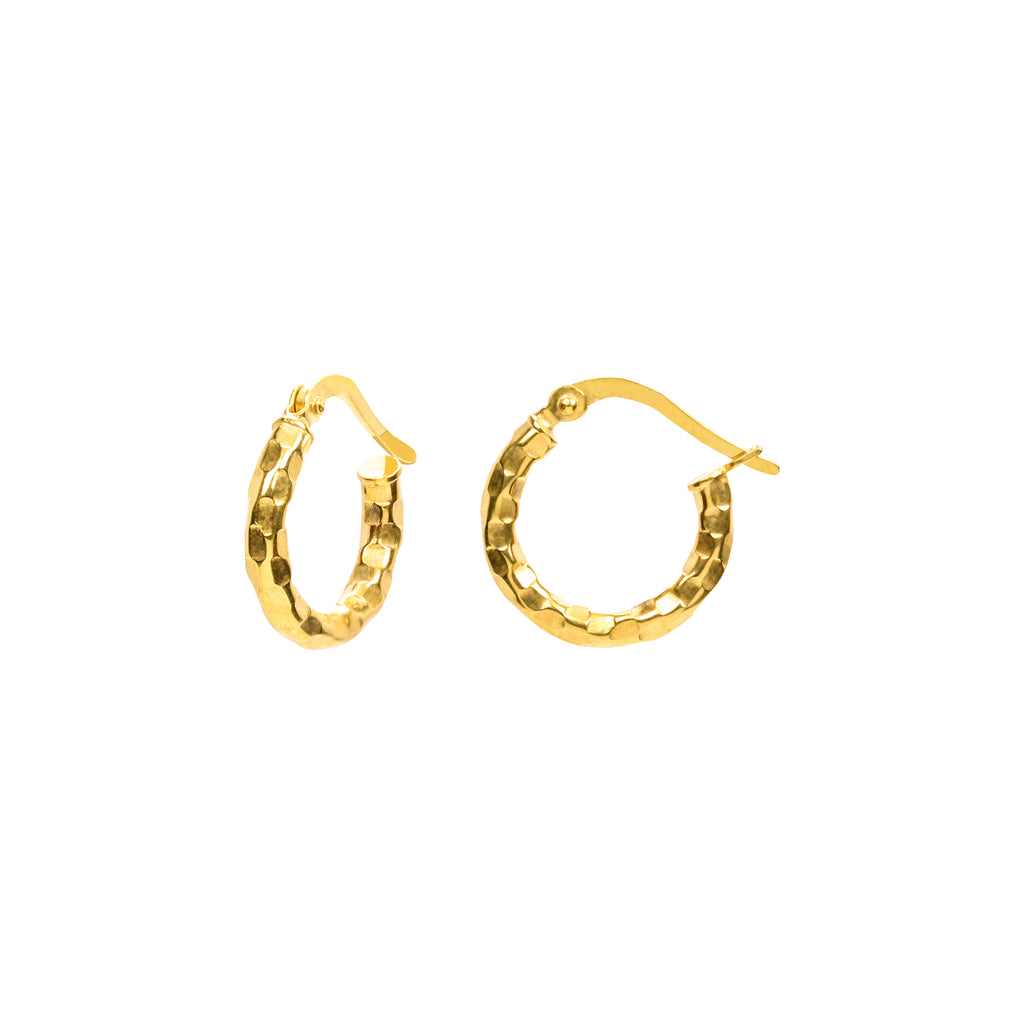 18K Chinese Gold 15MM Hoops Earrings