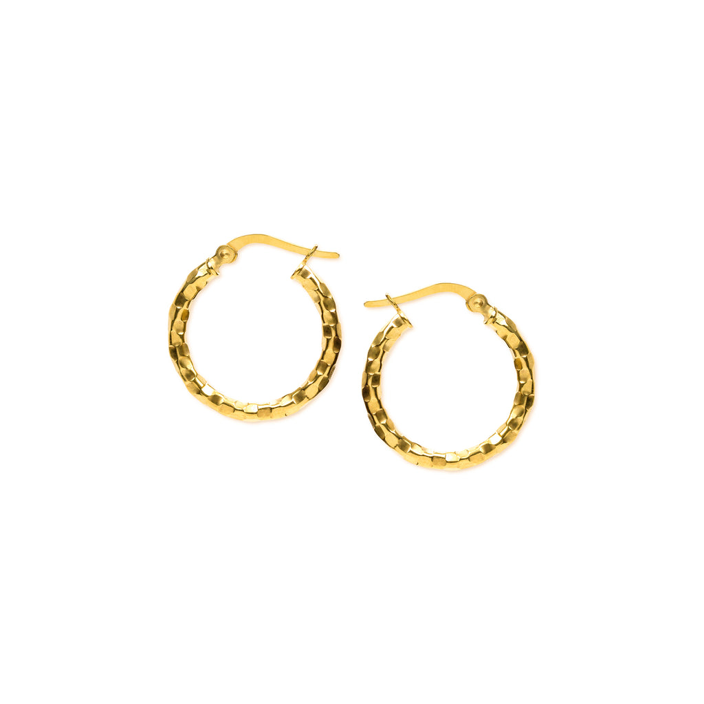 18K Chinese Gold 15MM-20MM Hoop Earrings