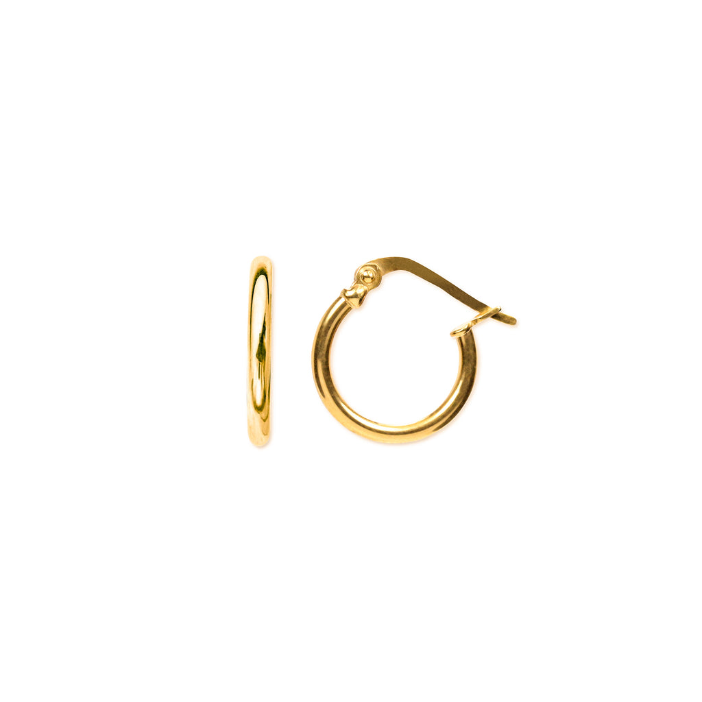 18K Chinese Gold 14MM Hoops Earrings