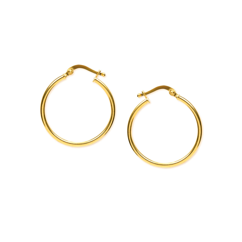 18K Chinese Gold 20MM-25MM Hoop Earrings