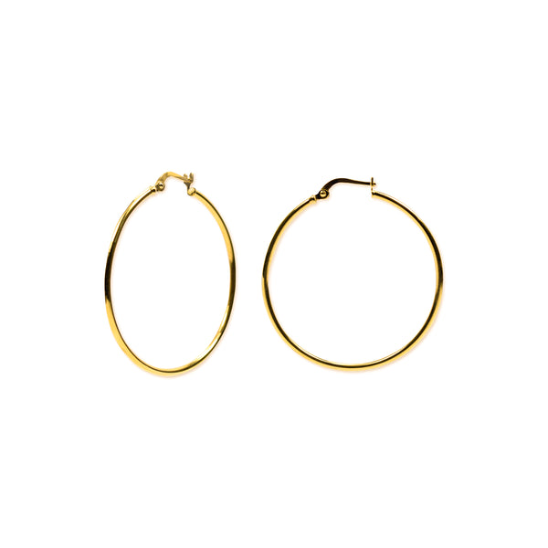 18K Chinese Gold 35MM-40MM Hoop Earrings
