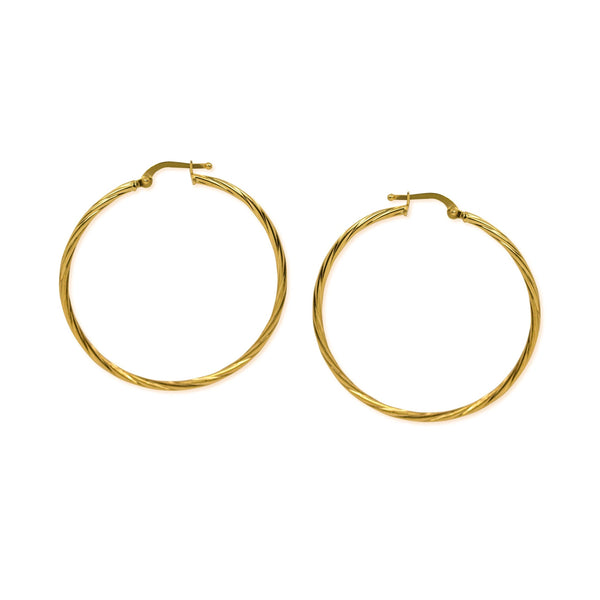 18K Chinese Gold 38MM Hoops Earrings