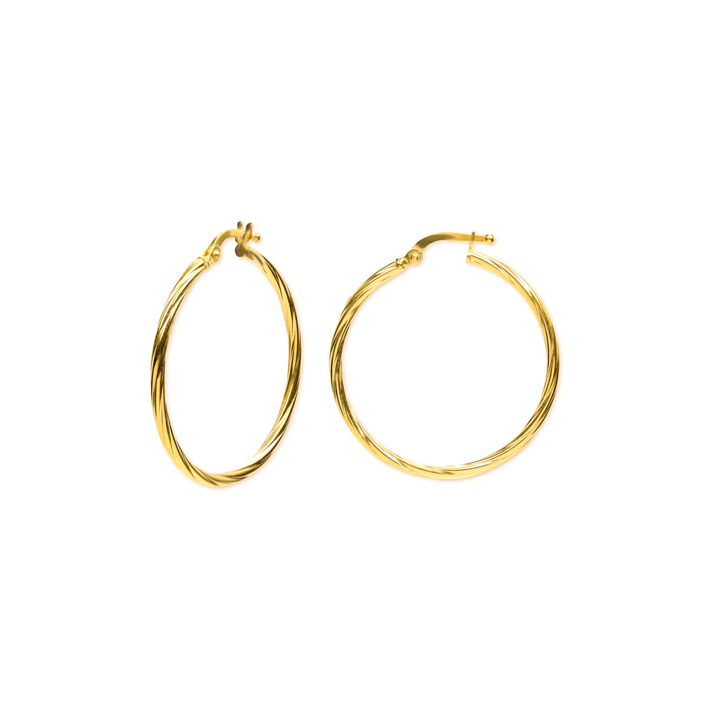 18K Chinese Gold 25MM-30MM Hoop Earrings
