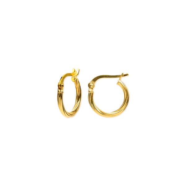 18K Chinese Gold 10MM-15MM Hoop Earrings