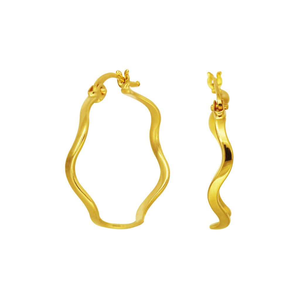 18K Chinese Gold Spiral Hoop Earrings
